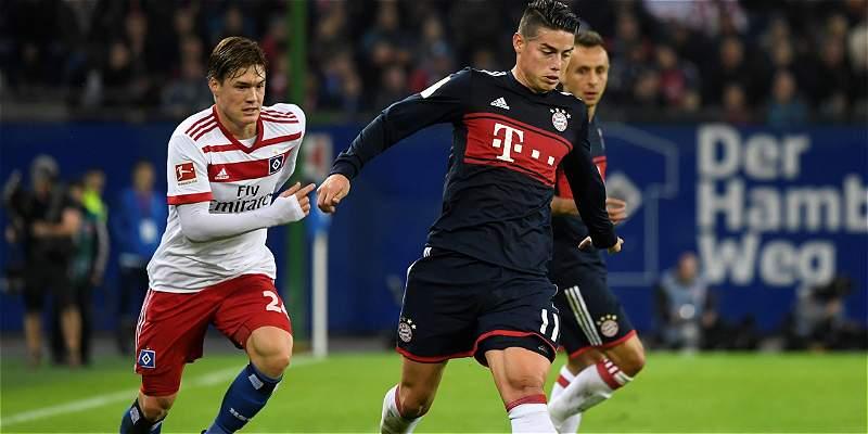 James, tan sólo 45 minutos en triunfo 0-1 del Bayern sobre Hamburgo
