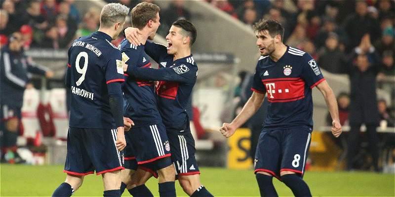 James sigue jugando y Bayern sigue ganando: 0-1 sobre Stuttgart