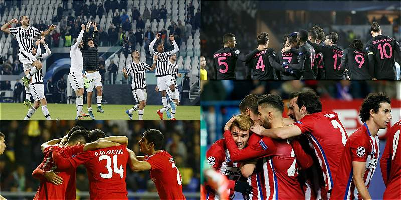 Atlético de Madrid, Juventus y PSG y Benfica