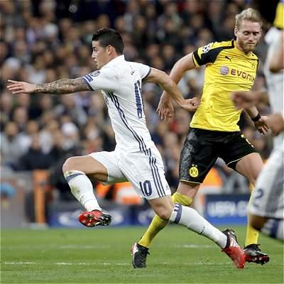 Con un pase gol de lujo de James, Real Madrid empató 2-2 con Dortmund