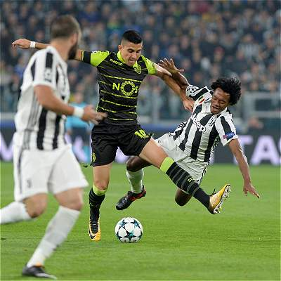 Juventus, con Cuadrado todo el partido, le ganó 2-1 al Sporting Lisboa