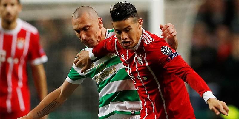 James: 90 minutos y buen compromiso en el 1-2 del Bayern sobre Celtic