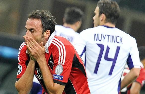 Milan no pudo derrotar al Anderlecht de Bélgica.