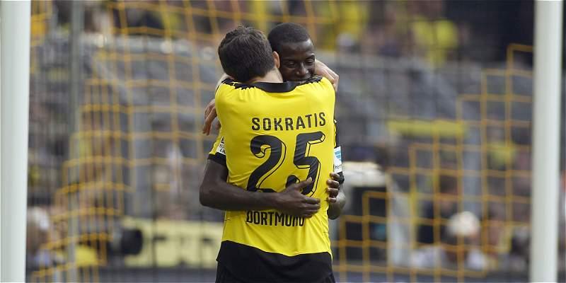 Adrián Ramos marcó con el Dortmund, que le ganó 3-1 al Hertha