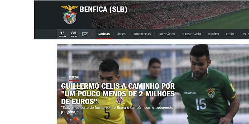Benfica, muy cerca de cerrar el fichaje de Guillermo Celis