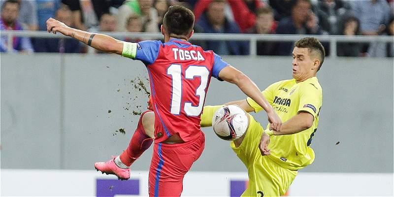 Santos Borré y su felicidad tras anotar el primer gol con Villarreal