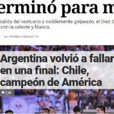 Así registró la prensa argentina el descalabro de su selección en Copa