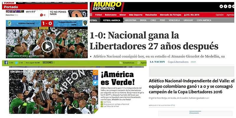 Así destacaron los medios el título de Copa de Atlético Nacional