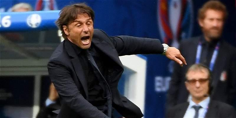 El desbordante festejo de Conte tras segundo gol de Italia a España