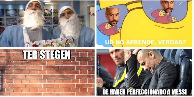 Memes Barcelona vs. City collage
