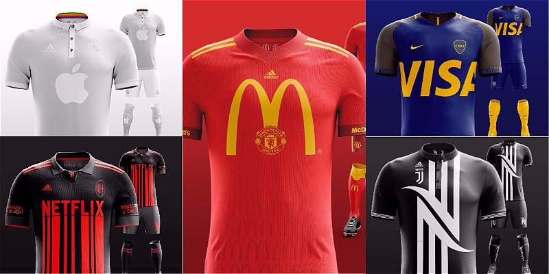 Fútbol y publicidad: en fotos las camisetas con las grandes marcas