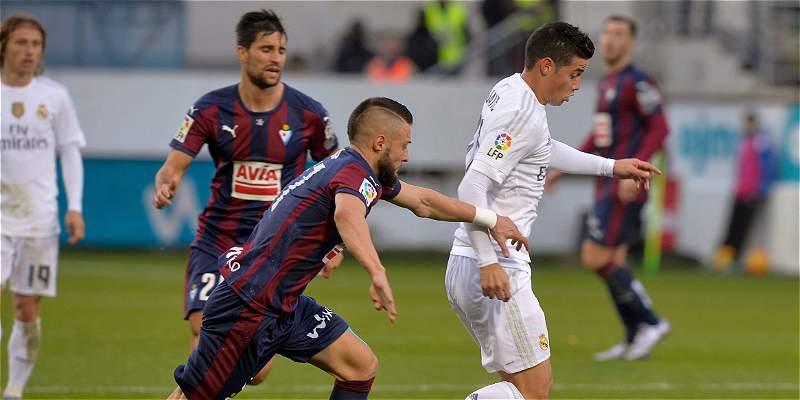 Con James 65 minutos, el Real Madrid venció 0-2 al Eibar