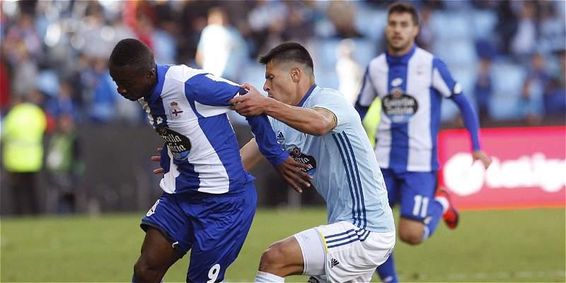Marlos Moreno jugó 25 minutos en la derrota 4-1 de Deportivo con Celta