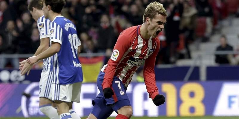 Atlético de Madrid remontó 2-1 a Real sociedad y se prende en la Liga