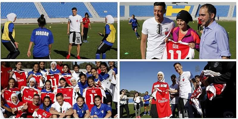 En fotos: Özil compartió con las jugadoras de Jordania Sub-17