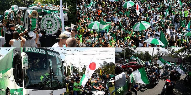 En imágenes: así fue la caravana de hinchas que despidió a Nacional