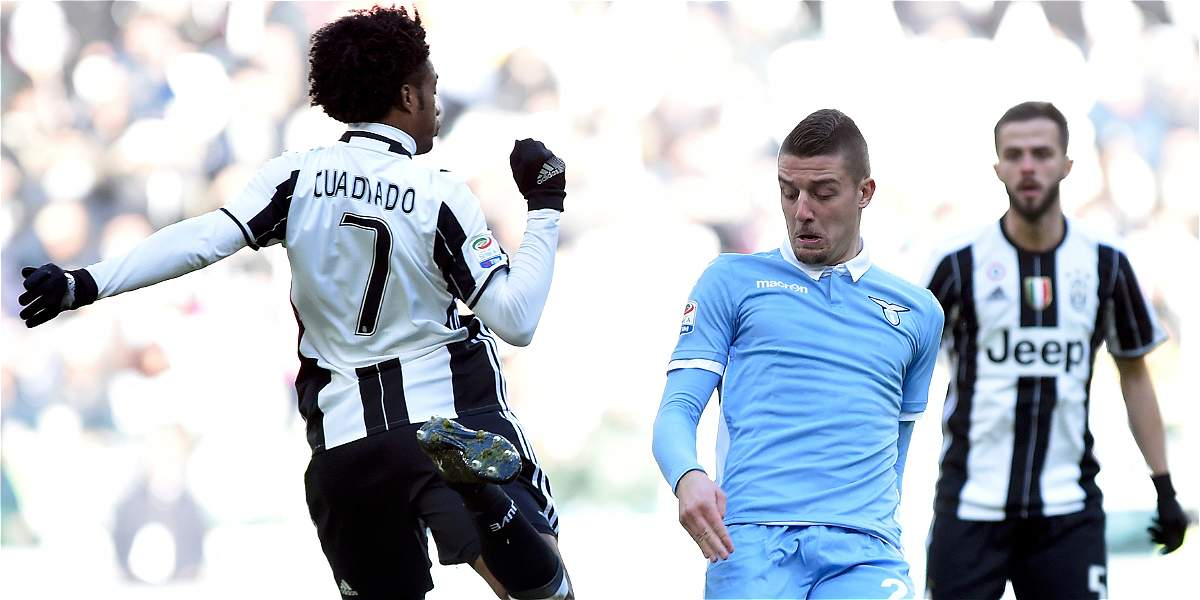 Con pasegol y buena actuación de Cuadrado, Juventus venció 2-0 a Lazio