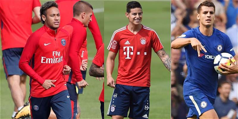 Neymar, James y Morata