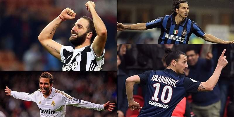 Higuaín y Zlatan, los únicos en anotar 100 goles en dos ligas europeas