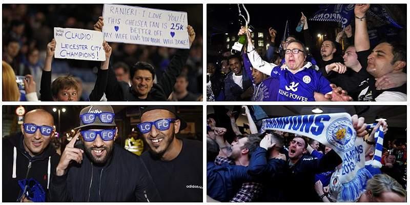 Hinchas de Leicester collage