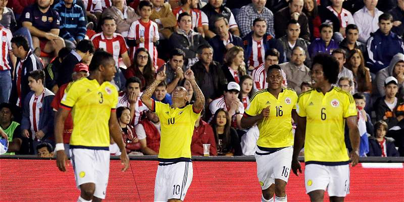 Colombia festejo frente a Paraguay