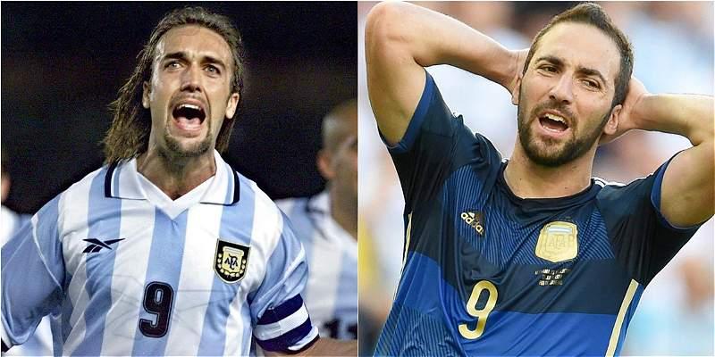 Así comparan las opciones erradas de Higuaín con goles de Batistuta