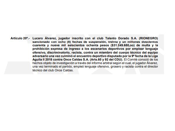 Resolución contra Lucero Álvarez.