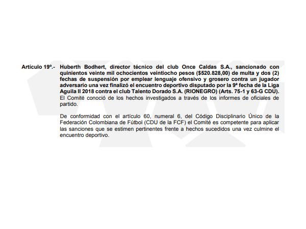 Resolución contra Hubert Bodhert.