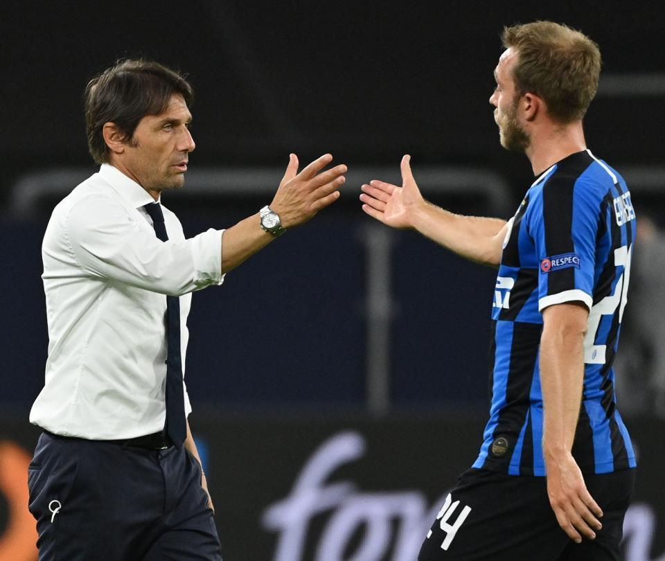 Copa Italia: Inter de Milan vs Milan, video gol Eirksen de tiro libre, Conte celebración | Serie A 1