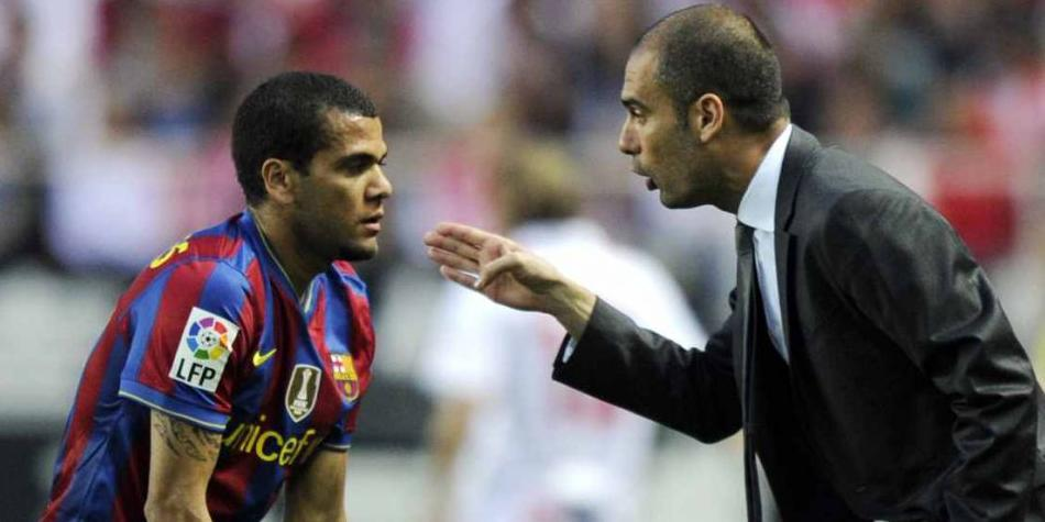 Dani Alves y Pep Guardiola