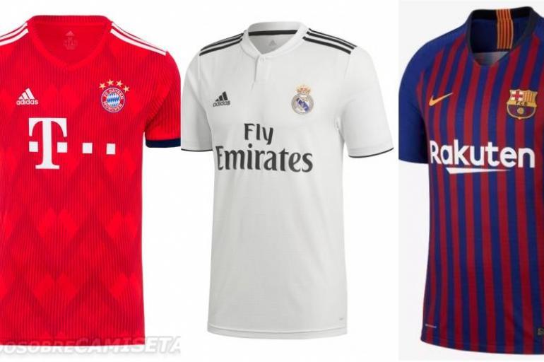 6252c5ecbe270 Camisetas de los equipos top de Europa para la temporada 2018-2019 ...