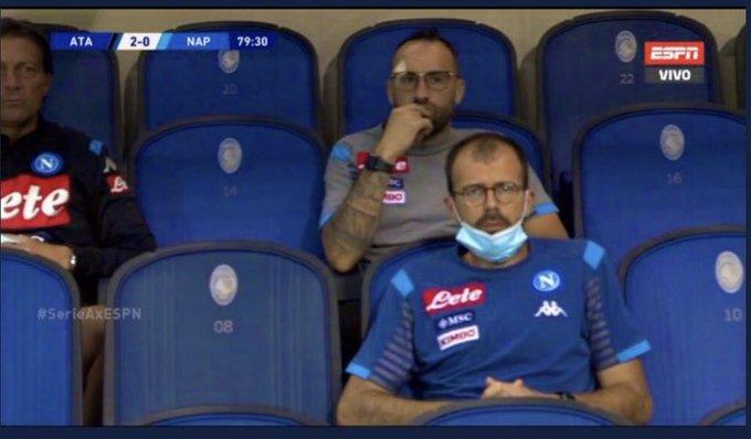 Así quedó Ospina tras el corte en la cara en Atalanta vs. Napoli 2